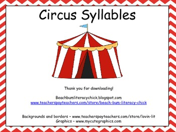 Circus Syllables - Activity Pack - Common Core