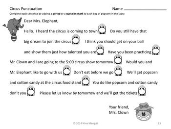 Circus Thematic Literacy Unit - Incorporates Common Core Standards
