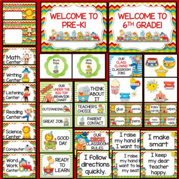 Circus Themed Classroom Decor EDITABLE (Circus Classroom Theme Decor)