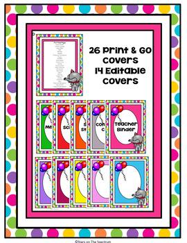 Circus Theme Binder Covers