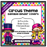 Circus Theme Binder Covers