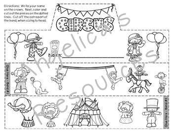 Circus Theme Activity : Crowns and Wristbands - Circus Craftivity