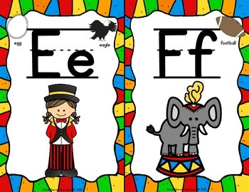 Circus Theme Alphabet and Word Wall Letter Cards
