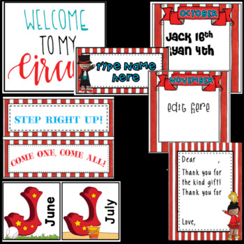 Circus Theme Birthday- Editable