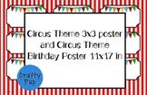 Circus Theme Birthday Poster 11x17 with freebie poster