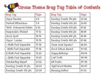Circus Theme Brag Tags {editable}