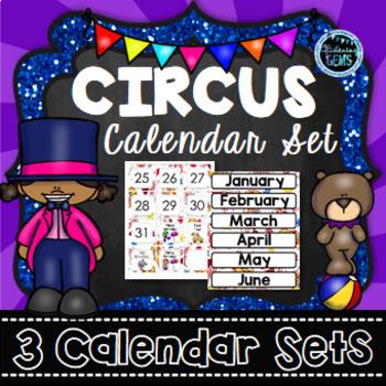 Circus Theme Classroom Decor - Calendar Set