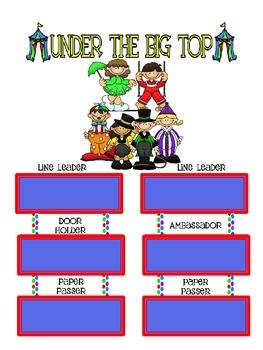 Circus Theme Classroom Jobs Poster set