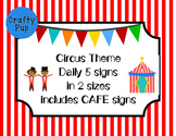 Circus Theme Daily 5 signs with CAFE signs