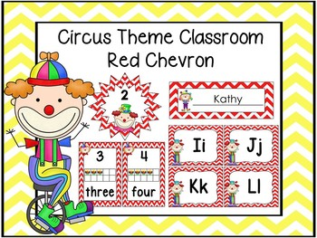 Circus Theme Decor Red Chevron
