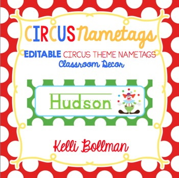 Circus Theme EDITABLE Nametags {Classroom Decor}