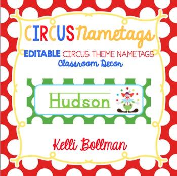 Circus Theme EDITABLE Nametags {Classroom Decor}