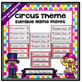 Circus Theme Editable Name Plates