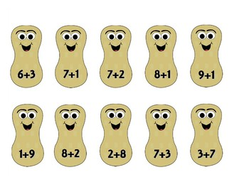 Circus Theme Math Game Addition More, Less, and Equal to 10 Peanut Sort