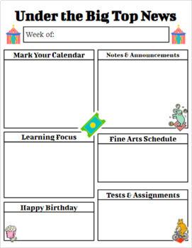 Circus Theme Newsletter and Homework Set