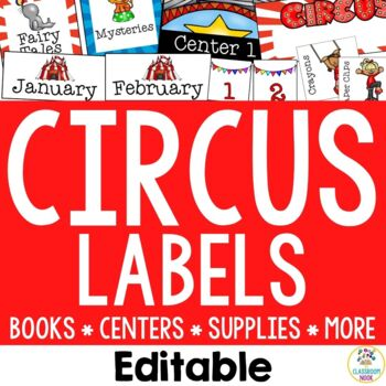 Circus Theme: Organization Cards and Labels (Editable)