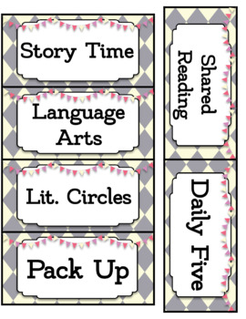 Circus Theme Schedule Cards