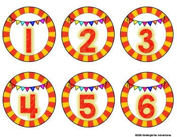 Circus Theme Student Number Labels