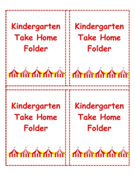 Circus Theme Take Holme Folder Labels