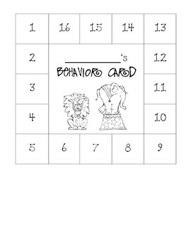 Circus Themed Behavior Card
