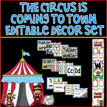 Circus Themed Classroom Decor Set - Editable