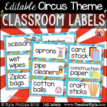 Circus Themed Classroom Labels with Pictures - Editable