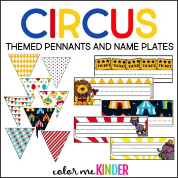 Circus Theme Name Plates, Welcome Banner and Pennant Pack
