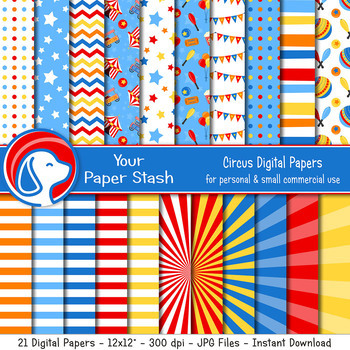 Circus Themed Digital Scrapbook Papers & Backgrounds, Circus Tent Pattern