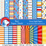 Circus Themed Digital Scrapbook Papers & Backgrounds, Circ