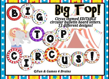 Circus Themed Editable Bulletin Board Banner