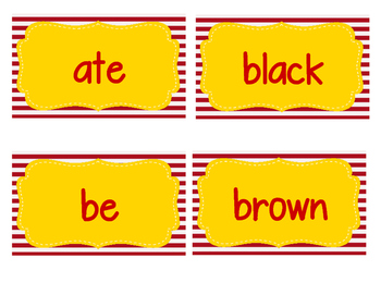 Circus Themed Kindergarten Dolch Sight Word Cards