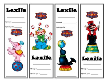 Circus Themed Lexile Bookmarks