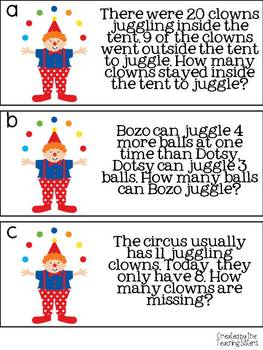 Circus Themed Math and Literacy Centers - Common Core Aligned