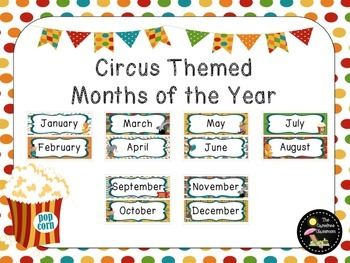 Circus Themed Months of the Year