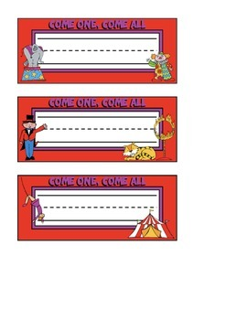 Circus Themed Nameplates