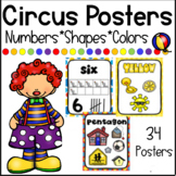 Circus Themed Numbers, Shapes and Colors Posters/ Circus Decor