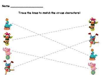 Circus Themed Pre-Writing Worksheets