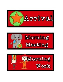 Circus Themed Schedule Cards: Red