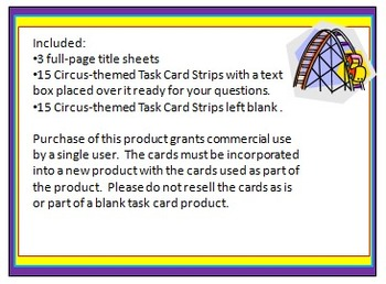 Circus-Themed Task Card/Scoot Card Templates: 3 Strips Per Page