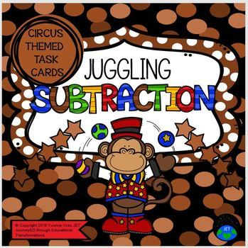 Circus Themed Task Cards Juggling Monkey Subtraction Station