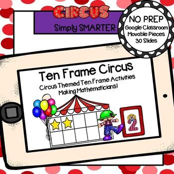Circus Themed Ten Frame Activities For GOOGLE CLASSROOM | TpT
