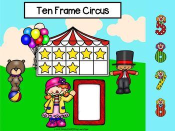 Circus Themed Ten Frame Activities For GOOGLE CLASSROOM