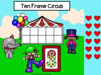 Circus Themed Ten Frame Activities For GOOGLE CLASSROOM Sneak Peek