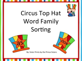 Circus Top Hat Word Family Sorting