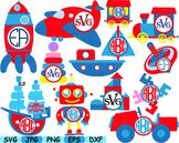 Circus Toys Circle clip art cars airplane ship school race robot crazy toy -151s