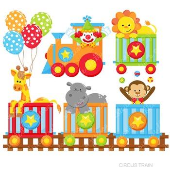 Circus Train Cute Digital Clipart, Circus Clip Art