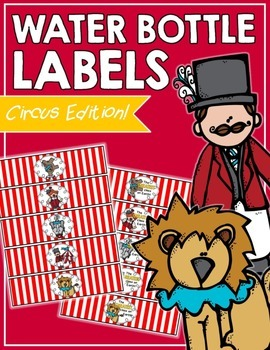 Circus Water Bottle Labels