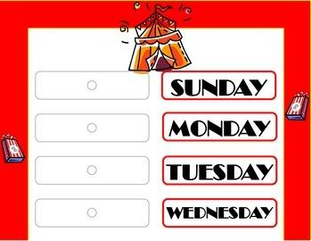 Circus Weekday Chart! Circus Theme! Circus Bulletin Board! Circus Days!