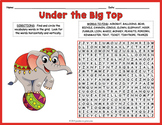 Circus Word Search - 2 Leveled Worksheets with Coloring Options