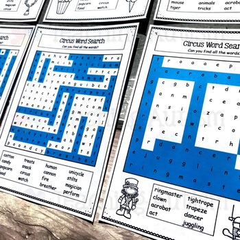 Circus Word Search Activities